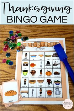 This Thanksgiving themed bingo game is a fun way to target and reinforce seasonal vocabulary with your kindergarten and elementary students. This is part of a larger resource that also includes an interactive book focusing on Thanksgiving dinner.. Also included are picture supported prepostion cards and objects that can be used for barrier games. All of these speech therapy activities promote important language skills for early learners and literacy. This is a great addition to your speech room!
