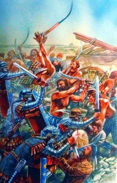 Roman legions battling Dacian warriors