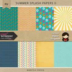 FREE Summer Splash Papers 2 by Carioca Digital Scrapbook: Pixel Scrapper July Blog Train 2015