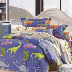 Children's 100% Cotton Dino Duvet - Available now on Becky & Lolo