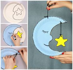 Moon Paper Plate Craft for Kids Moon Paper Plate Craft for Kids Easy Peasy and Fun The post Moon Paper Plate Craft for Kids appeared first on Paper Ideas. Space Crafts For Kids, Paper Plate Crafts For Kids, Diy For Kids, Paper Crafts, Moon Crafts, Bird Crafts, Summer Camp Crafts, Camping Crafts, Paper Plate Art
