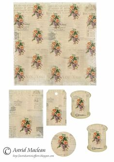 Astrid's Artistic Efforts: Lots of Lovely free printable tags, sheets, bookmarks, thread cards and more. Vintage Tags, Vintage Labels, Vintage Paper, Free Printable Tags, Printable Paper, Freebies Printable, Free Printables, Scrapbooking, Scrapbook Paper