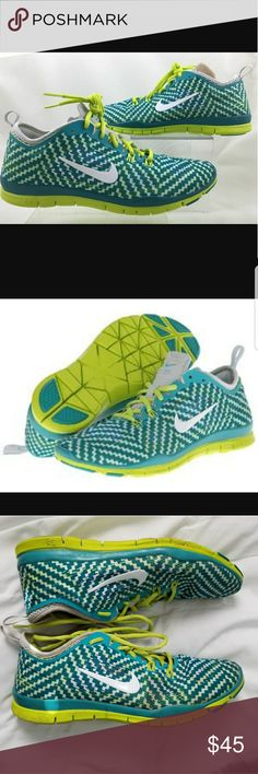 NIKE FREE 5.0 TR FIT 4 TRAINING SHOE These are Nikes TR Fit 4 training shoe in green and highlighter. Such a comfortable shoe, great for running and other training activities. Worn with love, little wear, no tear, still have a lot of life left in them. Size 8 Nike Shoes Athletic Shoes
