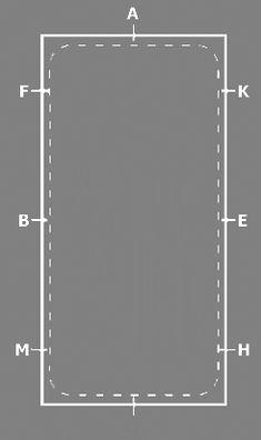 De rijbaan De rijbaan bestaat uit twee korte zijdes en twee lange zijdes. de afmetingen zijn 20x40 of 20x60. Aan de zijkant van de bak staan allerlei letters, die we gebruiken bij het rijden van de hoefslag figuren. De volgorde van de letters kunnen we gemakkelijk onthouden met het volgende