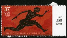 This stamp, issued when the Olympic Games returned to their historic home in Athens in 2004, was designed to honor the spirit of athleticism and international unity that the Games inspire.