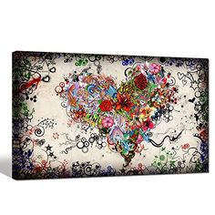 Sea Charm  Contemporary Vintage Abstract Art for Living Roomhome Decor Pictureslove Heart Modern Wall Art Gallery Wrappeddoodle Canvas Wall Art Framed and Ready to Hang 20x32inch * Click image for more details. (This is an affiliate link)