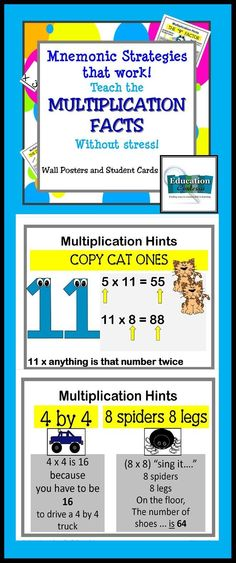 16 strategy posters for teaching multiplication facts. Some posters have more than one strategy on them. These posters use Mnemonic devices like rhyme to teach facts that are hard to remember. At the end, there is a multiplication license that I use.