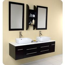 """View the Fresca FVN6119 Bellezza 59"""" Wall Mounted Wood Double Vanity With Rectangular Mirrors, P-Traps, Faucets, Pop-Up Drains and Installation Hardware Included at FaucetDirect.com."""