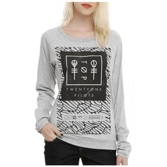 Twenty One Pilots Pattern Logo Print Grey Long Sleeve Cute Pullovers... ($17) ❤ liked on Polyvore featuring tops, hoodies, sweatshirts, print top, gray pullover, pullover top, pullover sweatshirts and patterned tops