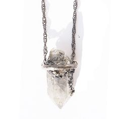 Quartz crystal necklace oxidized