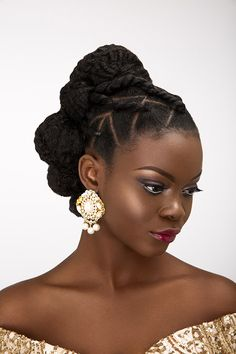 BN Bridal Beauty: International Bridal Hair Specialist, Dionne Smith presents Elegant Evening Bridal Hair Inspiration with a Twist! Wedding Hairstyles For Girls, Natural Hair Updo, Braided Hairstyles For Wedding, Short Wedding Hair, Natural Hair Styles, Short Hair Styles, Messy Hairstyle, Braided Updo, Chignon Wedding