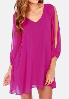 Purple Plain Hollow-out Split Sleeve Chiffon Dress