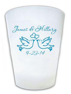 120 Wedding Favor Personalized Dove Theme Shot Glasses Custom Wedding Logo