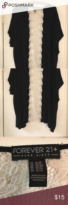 Forever 21 Kimono💕 Beautiful soft texture material with a little stretch. Mid back has a off white/cream color lace panel. Was one of my favorite kimonos. Forever 21 Tops