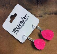 Texas Size Hot Pink Drop Earrings