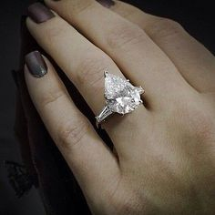 1.10 Ct. Pear Cut Baguette Side Stones Diamond Engagement Ring - GIA CERTIFIED