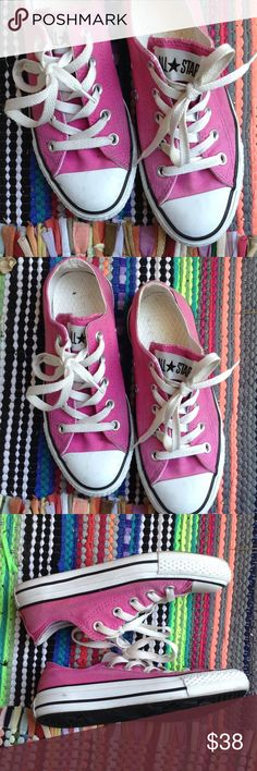 Converse Barbie Pink Woman's 5 Low Top Great condition. Smoke free home. No stains or dirt on bottom. Classic and cute! White laces. Men's size 3. 22 cm. Converse Shoes Athletic Shoes