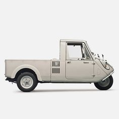 The Mazda K360 three-wheeled light truck first went on sale in 1959 in Japan. Production ended in 1969