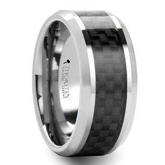 This tungsten men's wedding band is 8 millimeters wide and features a black carbon fiber inlay. Wedding Rings Online, Custom Wedding Rings, Wedding Ring Bands, Mens Wedding Rings Tungsten, Tungsten Carbide Rings, Wedding Ring Pictures, Wedding Ideas, Wedding Stuff, Dream Wedding