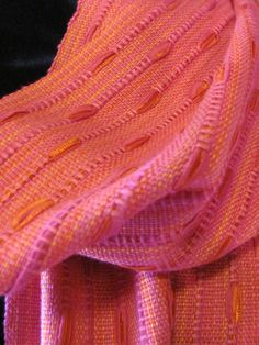 Pink Tulips Handwoven Scarf — this should be possible on a rigid heddle loom.