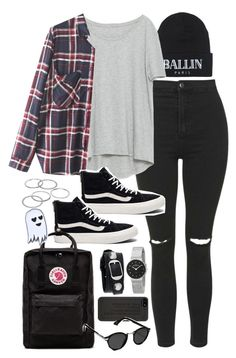 """Outfit for uni with vans and ripped jeans"" by ferned on Polyvore featuring Brian Lichtenberg, Topshop, Zara, WithChic, Vans, Fjällräven, Apt. 9, Skagen, Balenciaga and Marc by Marc Jacobs"