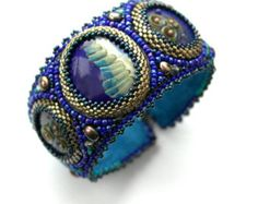Blue cuff bracelet, bead embroidered, blue golden lampwork bead embroidered. OOAK. Ready to ship