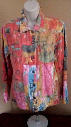 CHICOS DESIGN Womens Cotton Blend Water Color Button Front LS Shirt Size 0 #Chicos #ButtonDownShirt #Casual