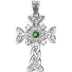 14k White Gold Celtic Knot Trinity Cross Diamond Pendant with Genuine Emerald - http://www.sparklingheaven.com/necklaces/14k-white-gold-celtic-knot-trinity-cross-diamond-pendant-with-genuine-emerald/