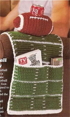 Football Caddy for Armchair Crochet Pattern -  would be neat as a walker or wheelchair caddie with an applique football instead of the drink holder!
