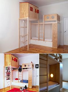 Super fun built-in loft bed in a kid's room *needs some color on the wall maybe red or a light blue *i would not use wood just because the simple fact of............splinters