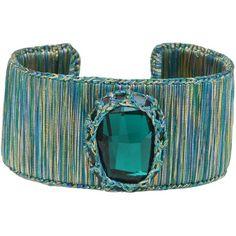 Boks & Baum - New York Cuff Bracelet Emerald Spirit ($340) ❤ liked on Polyvore featuring jewelry, bracelets, bangle cuff bracelet, emerald jewellery, emerald bangle, beaded cuff bracelet and swarovski crystal jewelry