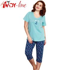 Poze Pijamale Vienetta Secret, Bumbac 100%, 'Wonderful Time' Blue