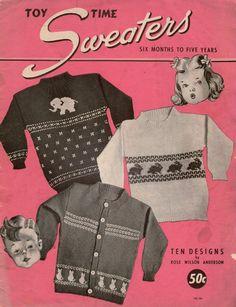 Toy Time Sweaters Vintage Knitting Patterns Children Animal Motifs 1940  #RoseWilsonAnderson #KnittingPatterns