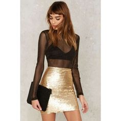 Nasty Gal Roxxanne Sequin Skirt (€65) ❤ liked on Polyvore featuring skirts, mini skirts, gold, gold sequin mini skirt, mini skirt, brown high waisted skirt, high-waisted skirts and high waisted mini skirt