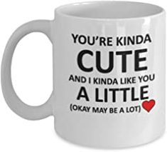 You're Kinda cute and I kinda like you a little Okay may be a lot coffee mugs Love friendship funny tea cup 11 OZ Romantic Gifts For Husband, Best Gift For Wife, Valentine Gift For Wife, Christmas Gifts For Husband, Birthday Gifts For Girlfriend, St Patrick's Day Gifts, Gifts For Coworkers, Gifts For Dad, Grandfather Gifts