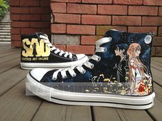 Sword Art Online Anime Shoes High Top Hand Painted Canvas Sneaker for Kids/Adult Painted Sneakers, Painted Shoes, Otaku, Online Anime, Online Art, On Shoes, Me Too Shoes, All Stars, Anime Merchandise