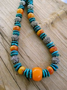 Copal Amber and Turquoise Necklace Genuine Tibetan Copal Amber and Large Turquoise Heishi with Ethiopian Silver Gemstone Jewelry