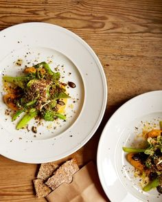 A duet from Mathias Dahlren's brasserie-style Matbaren in Stockholm: chaneterelles, paired with pumpkin salad.