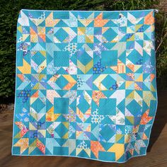Katy Jones Constellation Quilt pattern, half square triangle and squares, x background is Kona teal. Star Quilts, Quilt Blocks, Scrappy Quilts, Constellation Quilt, Quilt Festival, Custom Quilts, Quilt Patterns Free, Quilting Designs, Quilting Ideas