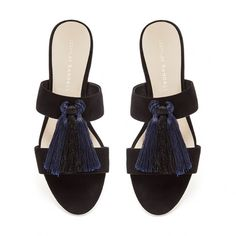 Loeffler Randall Rubie Sandal / black and navy strappy flats with a two-tone tassel