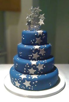 Blue with silver stars