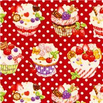 red dotted Cupcake fabric by Cosmo from Japan - Food Fabric - Fabric