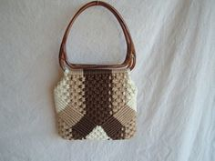 Mid Century Handmade Two Brown Macrame Purse by DivaInTheDell, $20.00