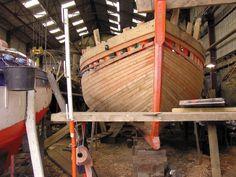 "Restoration of the sloop coquillier | ""Bergère de Domrémy"".  Roadstead of  Brest.   Brittany"