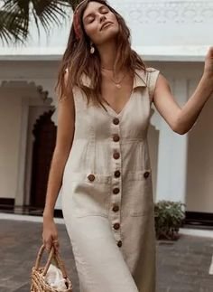 General X-line Dress Neutral Day Dresses Casual Spring Midi Summer Pockets Sleeveless V-Neckline S M L XL Buttons Solid Dress Dresses For Teens, Tight Dresses, Modest Dresses, Simple Dresses, Day Dresses, Cute Dresses, Vintage Dresses, Modest Clothing, Modest Outfits