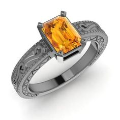 Emerald-Cut Citrine Ring in 14K Black Gold