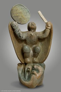 """Shaman Beckoning Sedna"" sculpture by Abraham Anghik Ruben Arte Inuit, Inuit Art, Inuit People, Soapstone Carving, Cultural Crafts, Native American Artwork, Canadian Art, Indigenous Art, Art Themes"