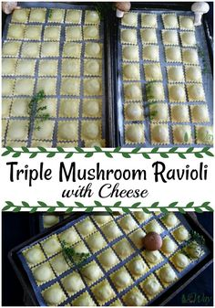 A collage with cookie sheets stacked with ravioli and spring of thyme and three mushrooms#ravioli, #mushroom_ravioli, #mushroom_filling, #appetizer, #how_to_make_ravioli, #pasta_filling,#ravioli_fillings