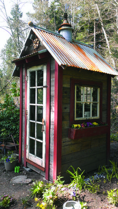 This 4-by-5 foot shed from Bob Bowling Rustics is made of old cedar fencing with a reclaimed galvanized roof, topped off by a cast-iron weather vane.