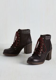 Rave Reviewer Bootie in Black - Black, Solid, Better, Lace Up, Chunky heel, Ankle, Mid, Faux Leather, Variation